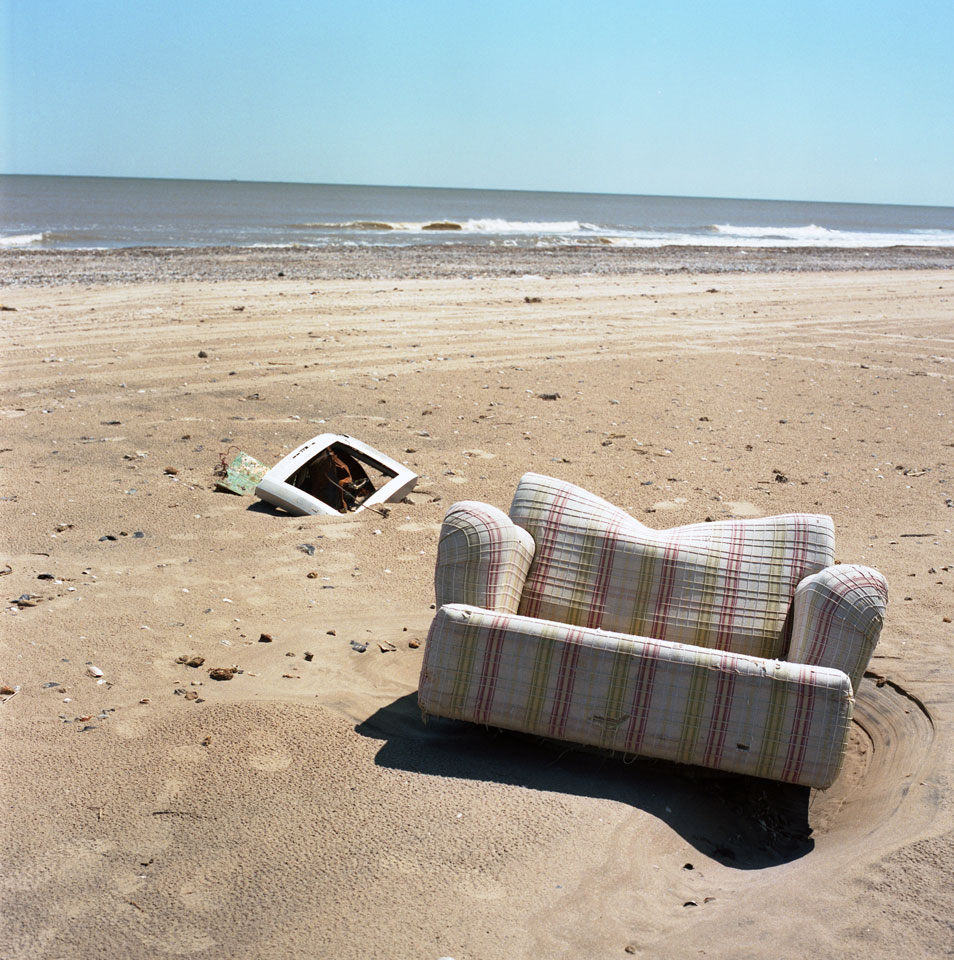 Living Room Remnants On Beach